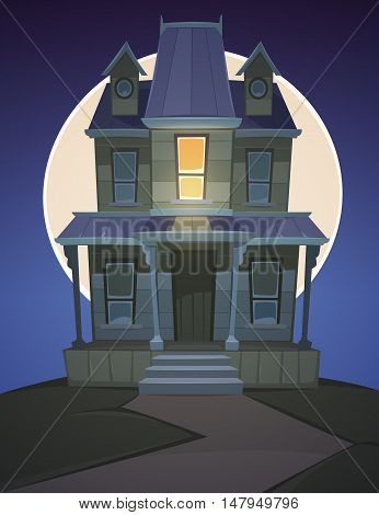 A haunted house on the hill with moon in background, Halloween cartoon illustration.