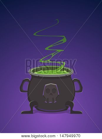 Cartoon illustration of the witch cauldron, filled with poison.