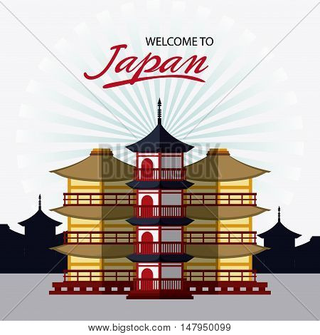 tower building icon. Japan culture landmark and asia theme. Colorful design. Vector illustration