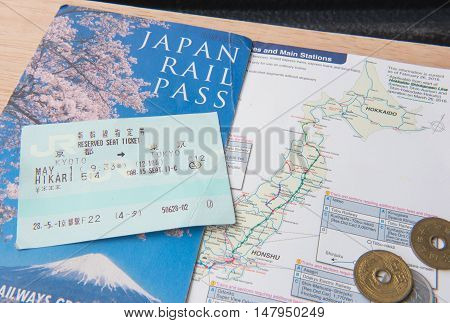 TOKYO, JAPAN - MAY 1 2016: JR Ticket Japan rail pass , Tokyo, Japan. MAY 1 2016.  Popular Japanese shinkansen high-speed rail convenient time.