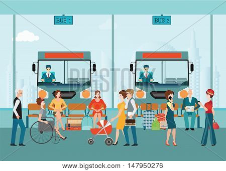 Bus terminal with bus limousine with people waiting for bus business travel transportation flat design vector illustration.