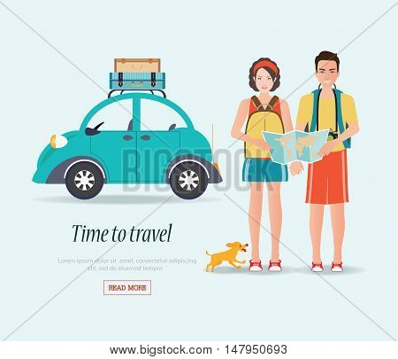 Couple travelers carring map with suitcases on a luggage rack tourists couple ready to trip. on summer holidays trip charactor flat design vector illustration.