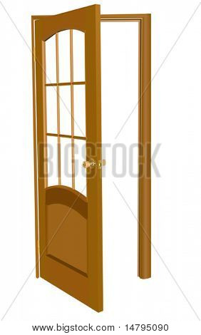 illustration with wood door isolated on white background