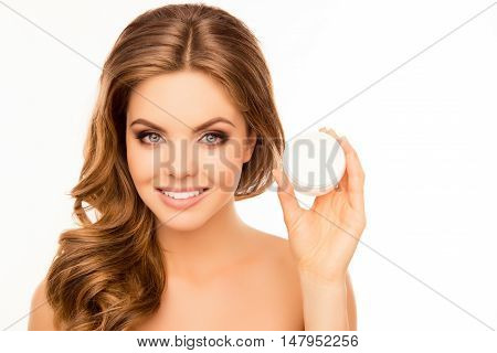 Beautiful Smiling Perfect Woman Holding Jar With Cream For Body