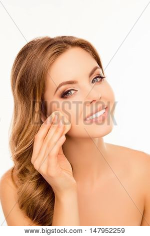 Portrait Of Smiling Woman Evening  Skin Tone With Sponge