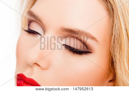 Close Up Of Young Woman With Professional Make Up On Eyes