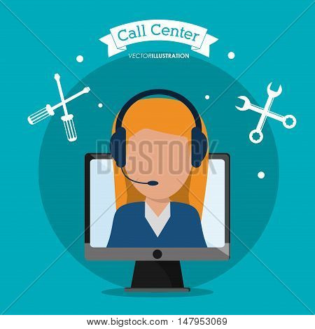 Opeartor woman with headphone and computer icon. Call center and technical service theme. Colorful design. Vector illustration