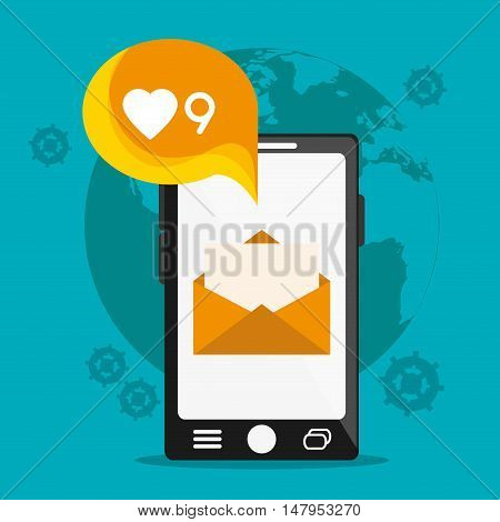 Smartphone planet and envelope icon. Email mail message communication and technology theme. Colorful design. Vector illustration