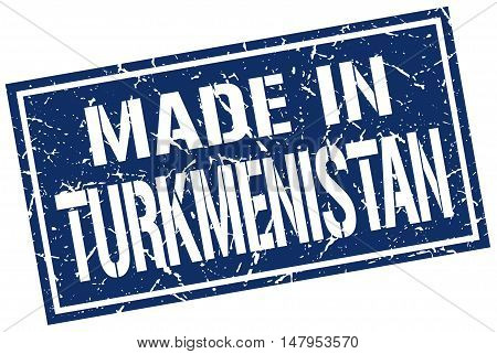 made in Turkmenistan. Stamp. Square grunge sign