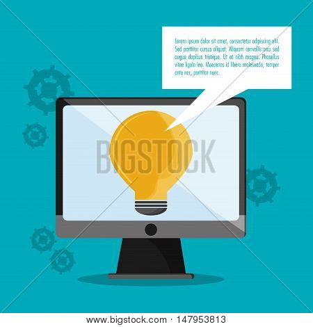 Computer and bulb icon. Call center and technical service theme. Colorful design. Vector illustration