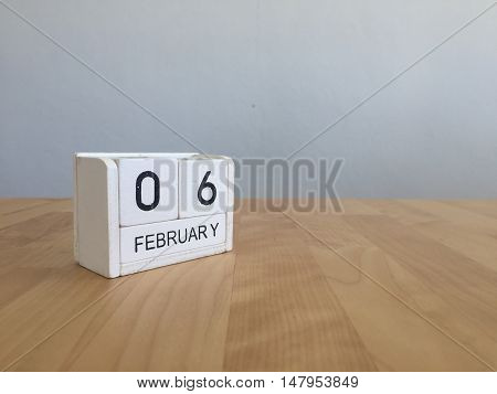 February 6Th.february 6 White Wooden Calendar On Vintage Wood Abstract Background.winter Time. Copys
