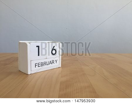 February 16Th.february 16 White Wooden Calendar On Vintage Wood Abstract Background.winter Time. Cop