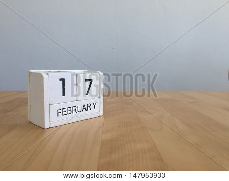 February 17Th.february 17 White Wooden Calendar On Vintage Wood Abstract Background.winter Time. Cop