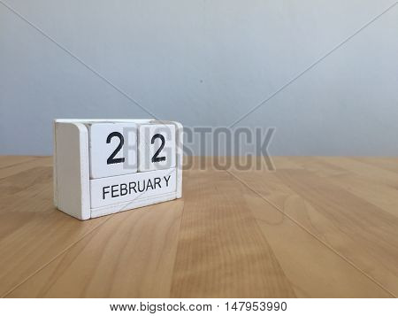 February 22Nd.february 22 White Wooden Calendar On Vintage Wood Abstract Background.winter Time. Cop