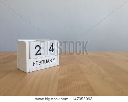February 24Th.february 24 White Wooden Calendar On Vintage Wood Abstract Background.winter Time. Cop