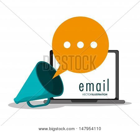Laptop bubble and megaphone icon. Email mail message communication and technology theme. Colorful design. Vector illustration