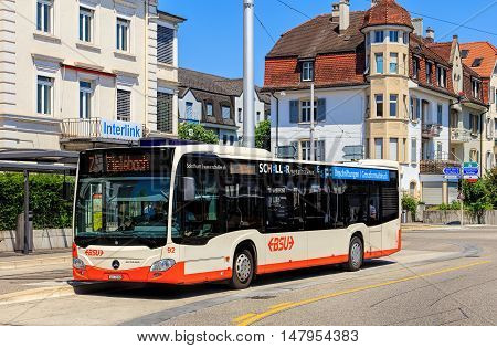 Solothurn, Swizerland - 10 July, 2016: a Mercedes-Benz Citaro bus on Bahnhofplatz square. Mercedes-Benz Citaro is a single-deck bus manufactured by Mercedes-Benz/EvoBus, introduced in 1997.