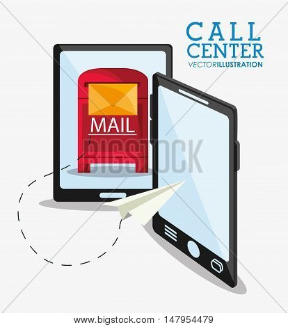 Smartphone and mail icon. Call center and technical service theme. Colorful design. Vector illustration