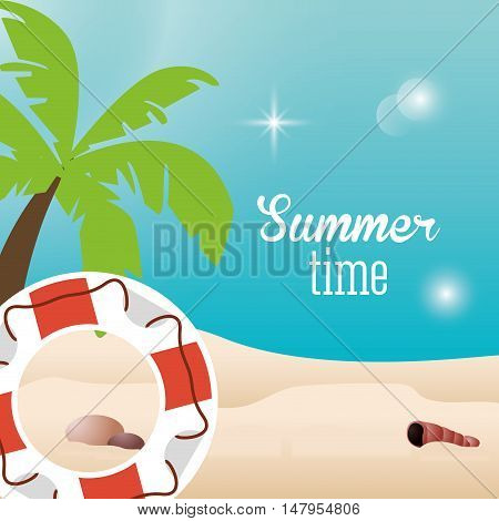 Palm tree beach and float icon. Summer holiday and vacations theme. Colorful design. Vector illustration