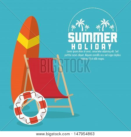 surf baord chair and float icon. Summer holiday and vacations theme. Colorful design. Vector illustration