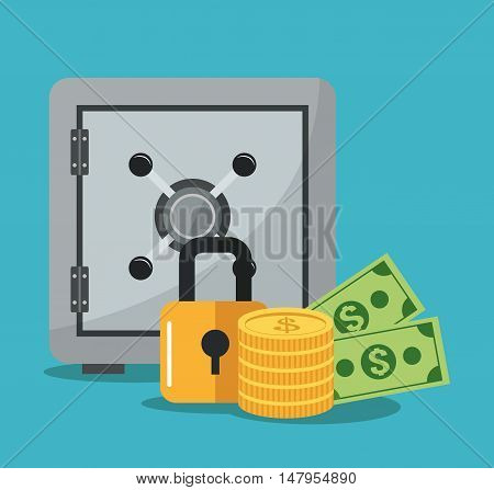 Strongbox padlock coins and bills icon. security system and money theme. Colorful design. Vector illustration