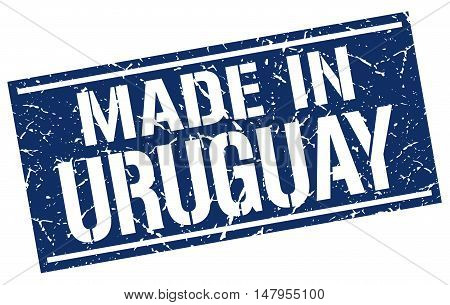 made in Uruguay. Stamp. Square grunge sign