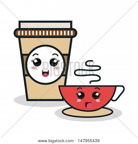 cup coffee plastic facial expression isolated icon design, vector illustration  graphic