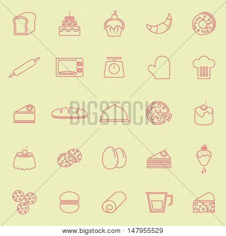 Bakery line color icons on yellow background, stock vector
