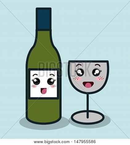 cartoon bottle wineglass with facial expression isolated design, vector illustration  graphic
