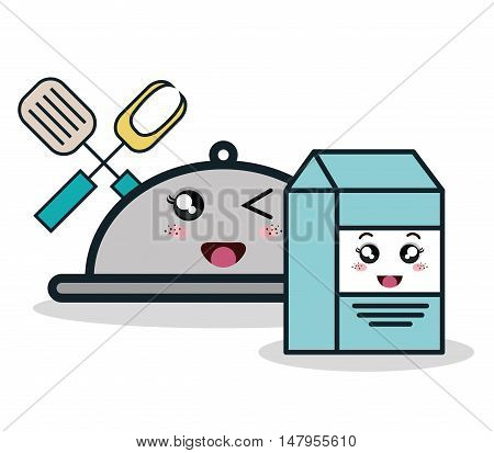 cartoon catering box milk and fork spatula facial expression isolated design, vector illustration  graphic