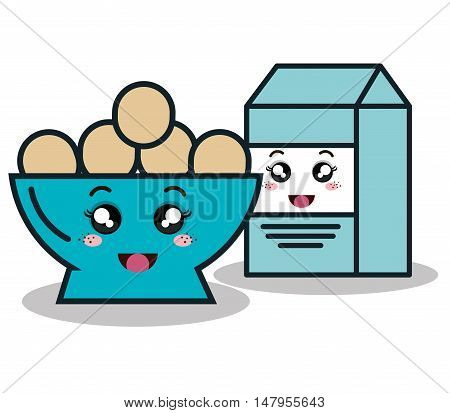bowl full eggs with box milk cartoon isolated icon design, vector illustration  graphic