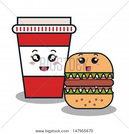 cartoon burger with facial expression and cup plastic isolated design, vector illustration  graphic