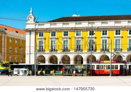 Lisbon, Portugal-March 10: Typical,Tramway on May 11, 2016. Beautiful Tramway in  Lisbon, Portugal, Europe