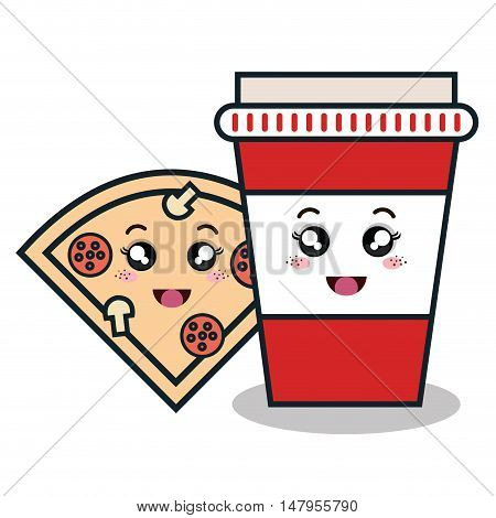 cartoon pizza cup plastic facial expression isolated design, vector illustration  graphic