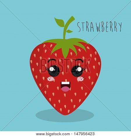 cartoon strawberry fruit facial expression design isolated vector illustration esp 10