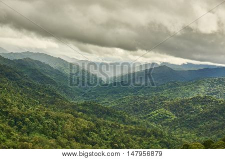 Mountain range in cloudy day. Kew Kra Ting viewpoint, at Mea-Wong National Park,Thailand. Tropical rain-forest in asia