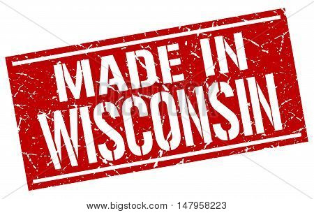 made in Wisconsin. Stamp. Square grunge sign