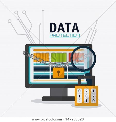 Computer lupe and padlock icon. Data protection cyber security system and media theme. Colorful design. Vector illustration