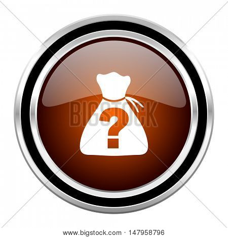 riddle round circle glossy metallic chrome web icon isolated on white background