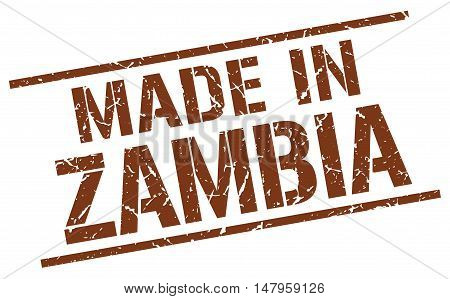 made in Zambia. Stamp. Square grunge sign