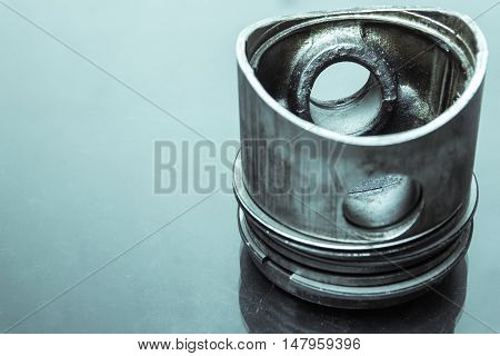 closeup of piston from a motorcycle part engine