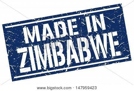 made in Zimbabwe. Stamp. Square grunge sign