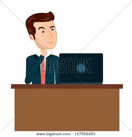 cartoon man laptop desk e-commerce isolated design, vector illustration  graphic