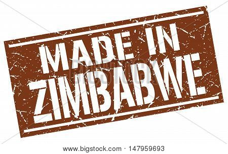 made in Zimbabwe. Stamp. Square grunge sign