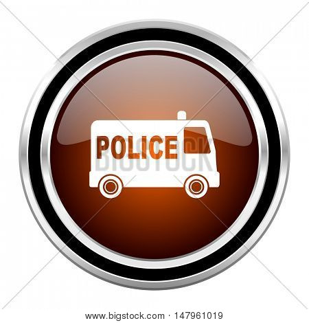 police round circle glossy metallic chrome web icon isolated on white background