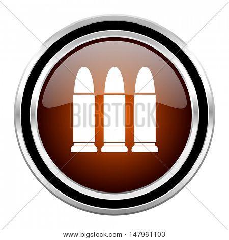 ammunition round circle glossy metallic chrome web icon isolated on white background