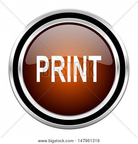 print round circle glossy metallic chrome web icon isolated on white background