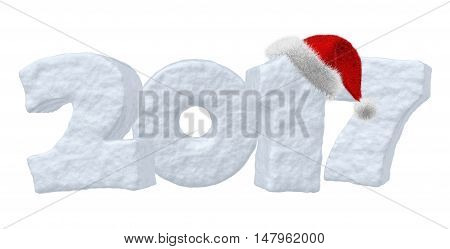 Happy New Year creative holiday concept - 2017 new year sign text written with numbers made of snow and Santa Claus fluffy red hat New Year 2017 winter snow symbol 3d illustration isolated on white