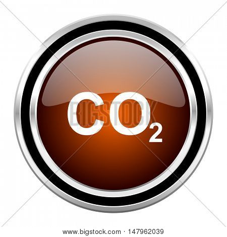 carbon dioxide round circle glossy metallic chrome web icon isolated on white background