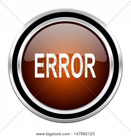 error round circle glossy metallic chrome web icon isolated on white background